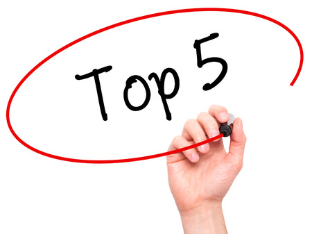 Photo for Man Hand writing Top 5 with black marker on visual screen. Isolated on white. Business, technology, internet concept. Stock Photo - Royalty Free Image