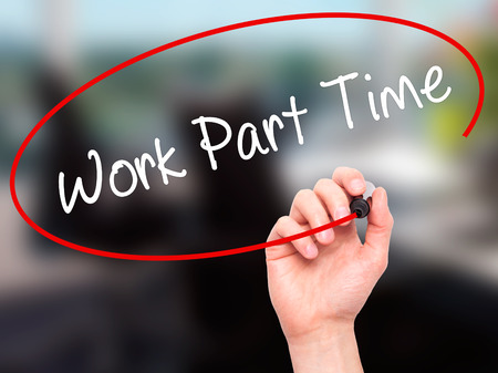 Photo pour Man Hand writing Work Part Time with black marker on visual screen. Isolated on office. Business, technology, internet concept. Stock Photo - image libre de droit