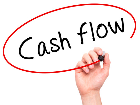 Photo pour Man Hand writing Cash flow with black marker on visual screen. Isolated on white. Business, technology, internet concept. Stock Image - image libre de droit