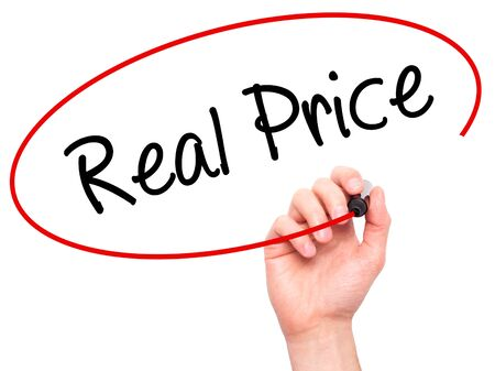 Man Hand writing Real Price with black marker on visual screen. Isolated on background. Business, technology, internet concept. Stock Photo