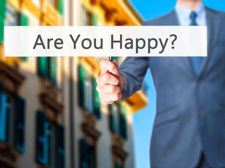 Are You Happy ? - Business man showing sign. Business, technology, internet concept. Stock Photo