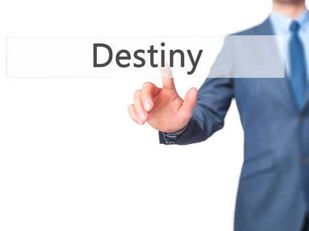 Destiny - Businessman press on digital screen. Business,  internet concept. Stock Photo