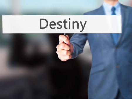 Destiny - Business man showing sign. Business, technology, internet concept. Stock Photo