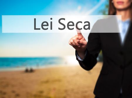 Lei Seca (Prohibition Alcohol Law n Portuguese) - Businesswoman pressing high tech  modern button on a virtual background. Business, technology, internet concept. Stock Photo