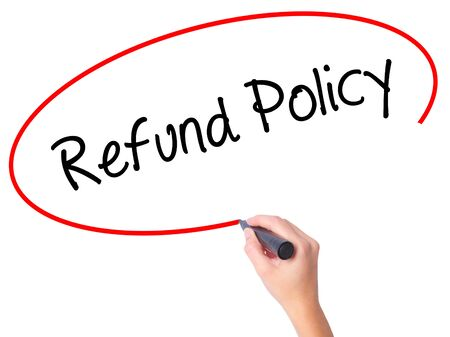 Photo pour Women Hand writing Refund Policy with black marker on visual screen. Isolated on white. Business, technology, internet concept. Stock Photo - image libre de droit