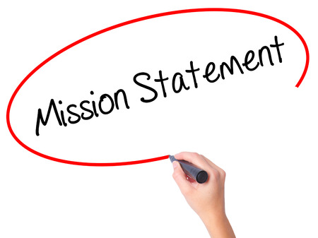Photo pour Women Hand writing Mission Statement with black marker on visual screen. Isolated on white. Business, technology, internet concept. Stock Photo - image libre de droit