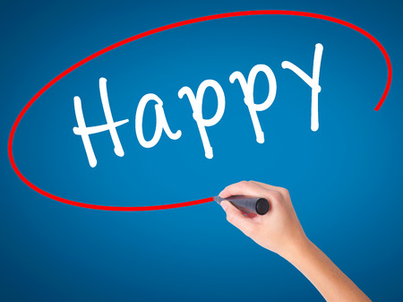 Man Hand writing Happy black marker on visual screen. Isolated on white. Business, technology, internet concept. Stock Image