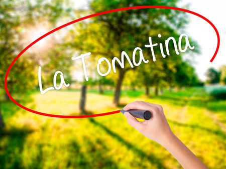 Woman Hand Writing La Tomatina on blank transparent board with a marker isolated over green field background. Business concept. Stock Photo
