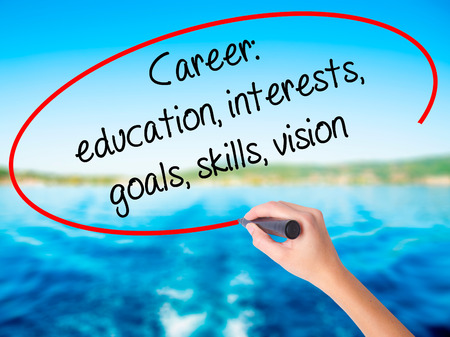Woman Hand Writing Career: education, interests, goals, skills, vision on blank transparent board with a marker isolated over water background. Business concept. Stock Photo