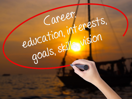 Woman Hand Writing Career: education, interests, goals, skills, vision with a marker over transparent board. Isolated on Sunset Boat. Business, technology, internet concept.