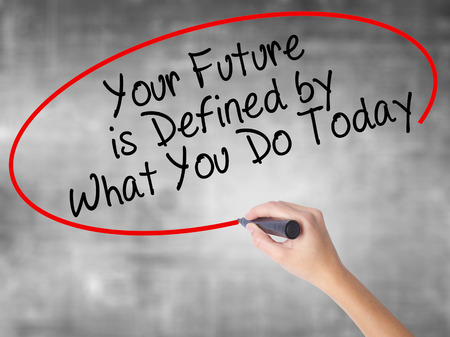 Man Hand writing Your Future is Defined by What You Do Today with black marker on visual screen. Isolated on white. Business, technology, internet concept. Stock Image