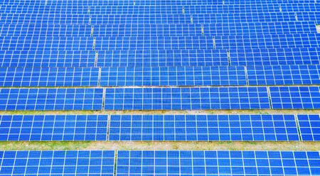 Photo for solar panels with the sunny sky. Blue solar panels. background of photovoltaic modules for renewable energy. Aerial view of Solar panels Photovoltaic systems industrial landscape - Royalty Free Image