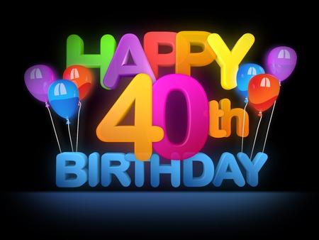 Photo pour Happy 40th Title in big letters, dark - image libre de droit