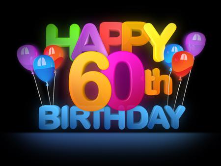 Photo pour Happy 60th Title in big letters, dark - image libre de droit