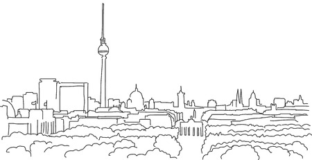 On the roofs of berlin Vector outline scribble with Brandenburger Gate