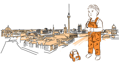 Little Child plays in Front of Berlin Panorama. Hand Drawn, Orange Colored Sketch.