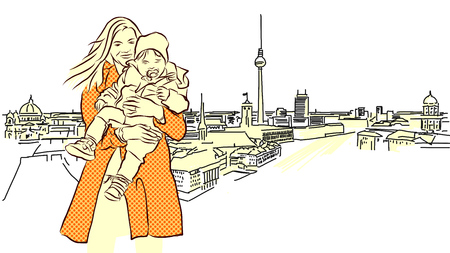 Woman with Child in Front of Berlin Panorama View. Hand Drawn. Orange Colored Sketch.