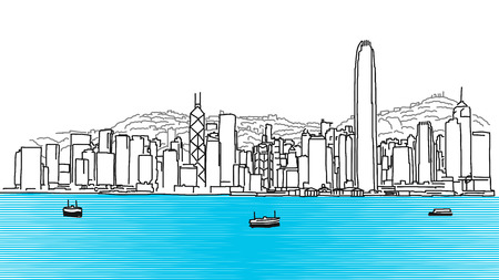 Illustration for Hon Kong Skyline Panorama, Hand Drawn Outline Sketch - Royalty Free Image