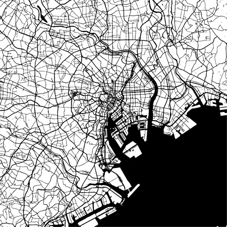 Tokyo, Japan, Monochrome Map Artprint, Outline Version, ready for color change, Separated On White
