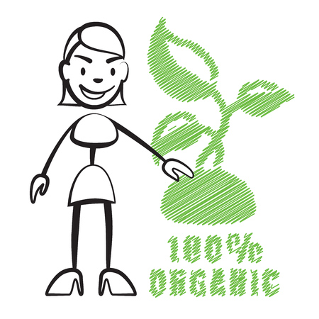 Stick figure woman with symbol 100% Organic, Stickman vector drawing on white background