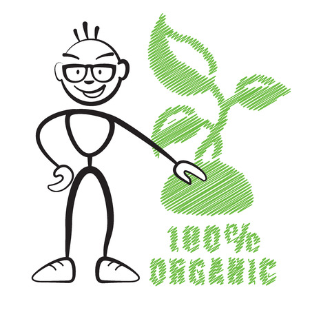 Stick figure with symbol 100% Organic, Stickman vector drawing on white background