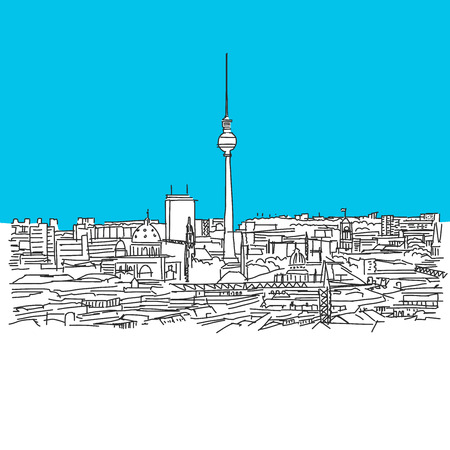 Berlin Skyline, hand-drawn vector drawing, blue series