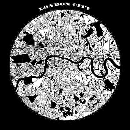 London Compass Design Map Artprint, Vector Outline Version, ready for color change, Separated On White