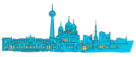 Illustration pour Tallinn Estonia Colored panoramic, Filled with Blue Shape and Yellow highlights. Scalable Urban Cityscape Vector Illustration - image libre de droit