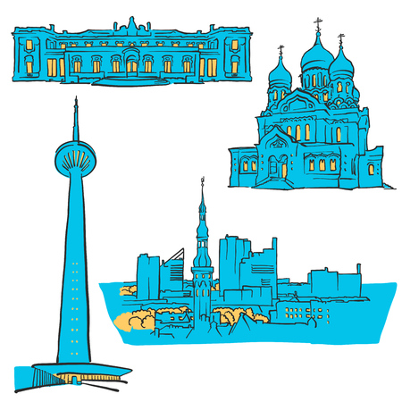 Illustration pour Tallinn Estonia Colored Landmarks, Scalable Vector monument. Filled with Blue Shape and Yellow highlights. - image libre de droit
