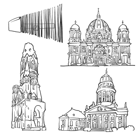 Berlin Germany Famous Buildings, Monochrome Outlined Travel Landmarks, Scalable Vector Illustration.