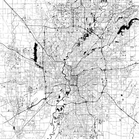Ilustración de Indianapolis Monochrome Vector Map. Very large and detailed outline Version on White Background. Black Highways and Railroads, Grey Streets, Blue Water. - Imagen libre de derechos