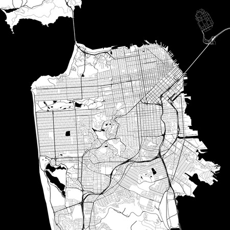 Illustration pour San Francisco Monochrome Vector Map. Very large and detailed outline Version on White Background. Black Highways and Railroads, Grey Streets, Blue Water. - image libre de droit