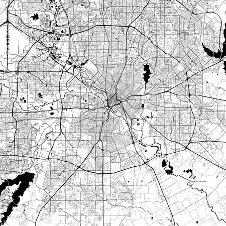 Ilustración de Dallas Monochrome Vector Map. Very large and detailed outline Version on White Background. Black Highways and Railroads, Grey Streets, Blue Water. - Imagen libre de derechos