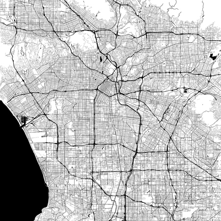 Illustration for Los Angeles Monochrome Vector Map. Very large and detailed outline Version on White Background. Black Highways and Railroads, Grey Streets, Blue Water. - Royalty Free Image