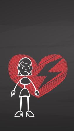 Woman and broken heart on chalkboard, handdrawn vector sketch, clean outlines, vintage style blackboard.