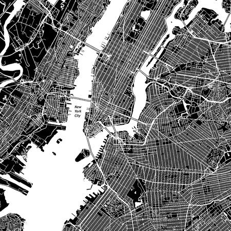 Ilustración de New York City, New York. Downtown vector map. City name on a separate layer. Art print template. Black and white. - Imagen libre de derechos