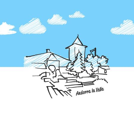 Andorra de la vella famous skyline sketch. Lineart drawing by hand. Greeting card icon with title. Vector Illustration