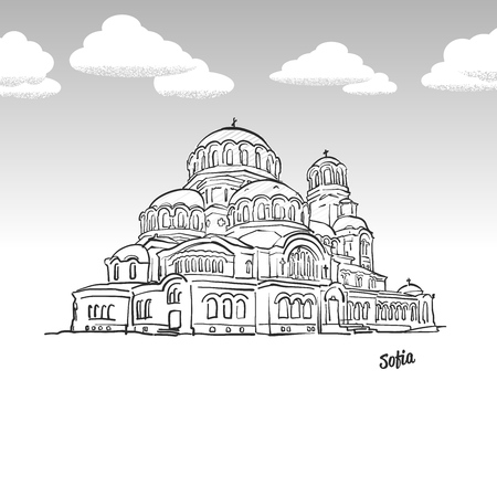 Sofia, Bulgaria famous landmark sketch. Lineart drawing by hand. Greeting card icon with title, vector illustration