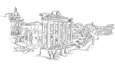Ancient Rome roman forum. Hand drawn historic landmark. Famous travel destination. Vector art sketch.