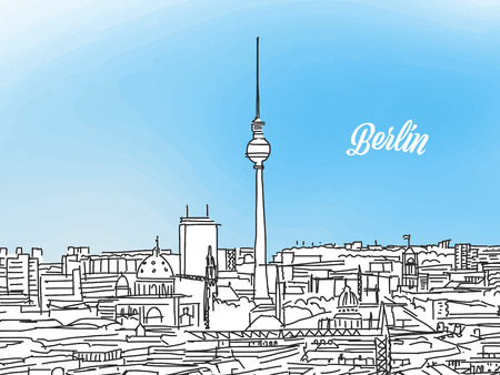 Berlin black and white panorama banner. Layout for greeting card and banner design, marketing sketch.