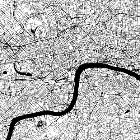 Ilustración de London Downtown Vector Map Monochrome Artprint, Outline Version for Infographic Background, Black Streets and Waterways - Imagen libre de derechos