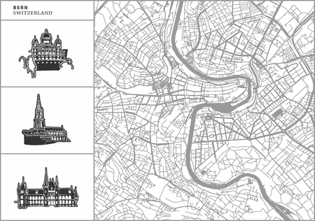 Illustration pour Bern city map with hand-drawn architecture icons. All drawigns, map and background separated for easy color change. Easy repositioning in vector version. - image libre de droit