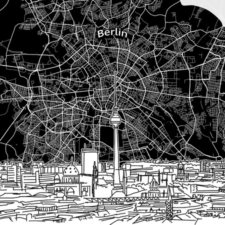 Vector drawing of Berlin skyline with map. Germany travel landmark. Black and white cover and background concept.