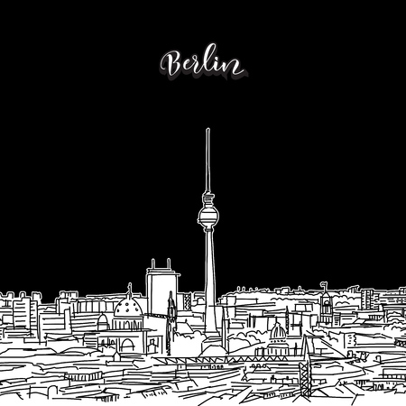 Vector drawing of Berlin skyline, outline. Germany travel landmark. Black and white cover and background concept.