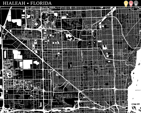 Simple map of Hialeah, Florida, USA. Black and white version for clean backgrounds and prints. This map of Hialeah contains three markers who are grouped and can be moved separetly in vector version.