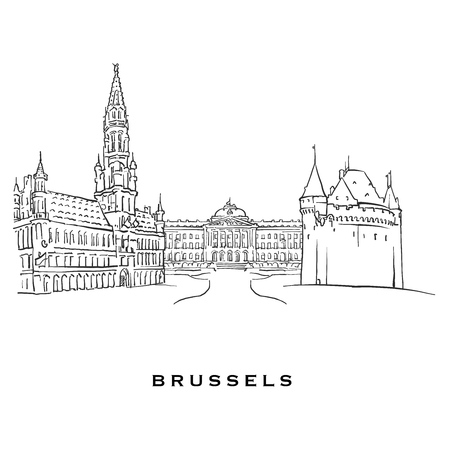 Brussels Belgium famous architecture  Outlined vector sketch