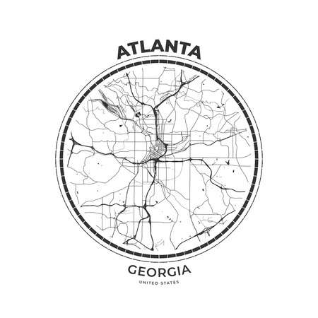 T-shirt map badge of Atlanta, Georgia. Tee shirt print typography label badge emblem. Vector illustration