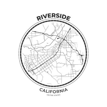T-shirt map badge of Riverside, California. Tee shirt print ...