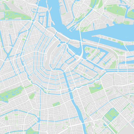 graphic relating to Printable Map of Amsterdam referred to as Downtown vector map of Amsterdam, Netherlands. This