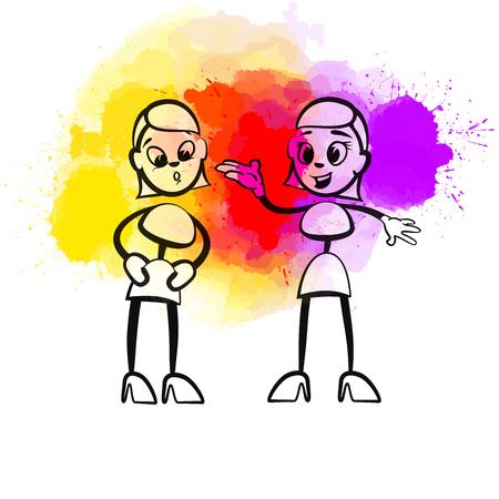 Illustration pour Creative Gossip Girls. Hand-drawn vector illustration, creative backdrops series. - image libre de droit